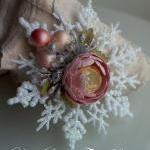 Handmade Paper Rose Ornament - Tickled Pink