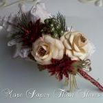 Handmade Christmas Paper Flower Spray - Glittered Red Poinsettia - Wedding - DIY - Napkin Ring - Table Decor - Shadow Box - Craf