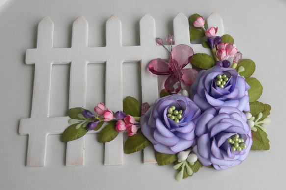 Handmade paper flower spray wooden picket fence butterfly purple handmade paper flower spray wooden picket fence butterfly purple ooak mightylinksfo